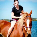 Happy lady & beautiful horse!