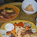 Custaleta (lamb cutlets) and Mixed Grill (foreground)