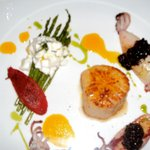 Asparagus and Burrata with Baby Squid and Sea Scallop