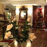 reception area decorated for Christmas