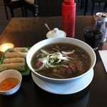 Pho with fresh spring rolls.