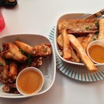 Wings and yucca fries