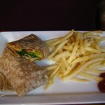 Wheat chicken wrap and fries