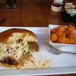 Barbeque sandwich and sweet potato tots