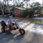 my son on a go cart that they have to hire