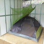 Ein Zelt, in dem wir geschlafen haben - von hier aus weckt einen die Sonne mor