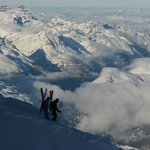 View across the ridge walk at Aguille du Midi to Chamonix Va