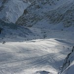 view looking up the valley (Mer de Glace) from the top of th