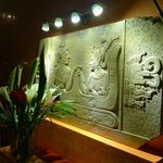 Tablet with Mayan hierogliphs depicting the founding of the hotel