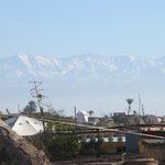 View of the Atlas mountains on the roof deck