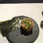 Tarta de salmon con nori, que rico!
