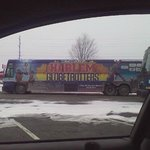 The bus in the parking lot:)