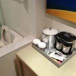 coffee maker next to toilet