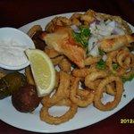 GREEK APPETIZERS: calamari,dolmades,keftedes