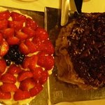 pavlova with strawberries and something amazing with chocolate