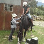 Fiona, helping my friend of 30 years on her horse for the da