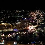 View of fireworks at Darling Harbour from room