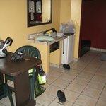 Room with good table, ac, mini fridge, clean