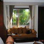 Blick vom Zimmer auf Terrasse
