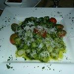 Gnocchi with pesto sauce.  Excellent