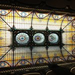 Tiffany stained glass ceiling in lobby