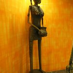 Brass statues in reception and corridors