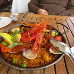 Seafood Paella with Red Prawns