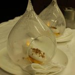 Ice teardrop mango puree with coconut ice cream