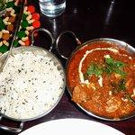 Chicken Gujarati style + plain rice.
