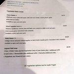 Vegetarian main course menu.