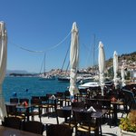 Outside tables, looking back to Poros Town