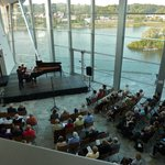 Looking down on the main floor concert area and the Tennessee River beyond