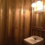 inside women's bathroom. the converted storage steel box nicely and simply done