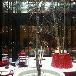 Snowy, central hotel garden