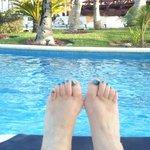 louning at the pool