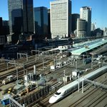 Bullet train arriving at Tokyo station