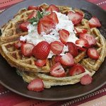 Yummy waffles made with blue corn and piñon