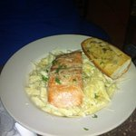 pasta with salmon and Alfredo sauce