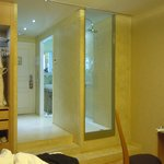 entry and bath area with large shower for two