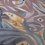 Contemporary sidewalk mosaic as you enter the museum.
