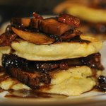 Feathery light hoecakes with balsamic maple glaze
