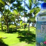 The view from our balcony of the mini golf course with the iconic Fijian water.