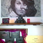 Painting of Sofia Loren (By Artist: Jimmy Law) and Amoleh salt boxes