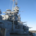 View of USS MASSACHUSETTS superstructure
