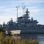 Starboard side of USS MASSACHUSETTS