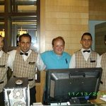 me with some bar staff in at the bar