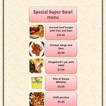 Special Super Bowl menu