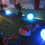 Colour changing lights round pool