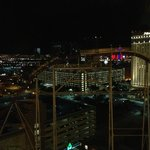 Night view from Spa Suite 2115 looking West towards the mountains. NYNY roller coaster in foregr