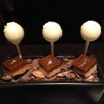 Dessert finisher.  Lemon filled cake pops and caramel shortbread treats on coc